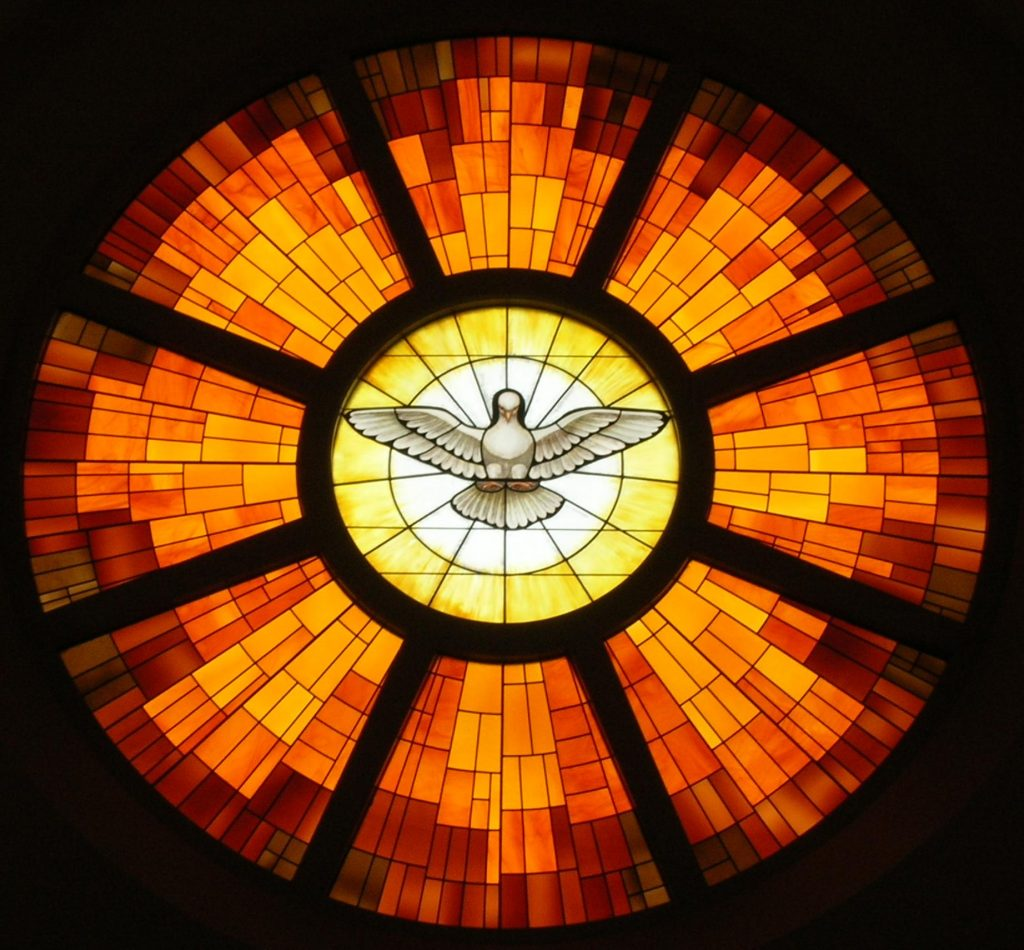 stained glass of holy spirit as dove