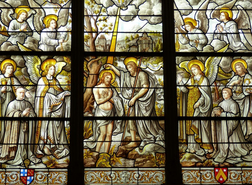 Jesus being baptized by John the Baptist stained glass