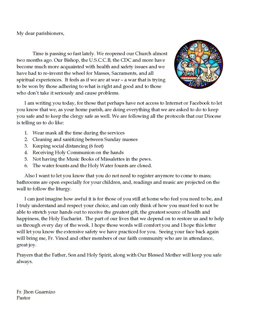 Back to Church Letter from Father Jhon