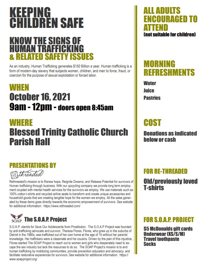 Keep Our Children Safe! Human Trafficking Awareness Event October 16th